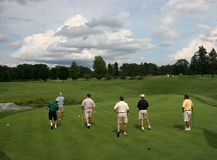 Zes golfspelers op golfcursus Royalty-vrije Stock Afbeelding