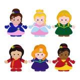 Zes grappige kleine prinsessen Royalty-vrije Stock Afbeeldingen