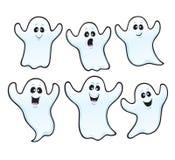 Zes Griezelige Halloween-spoken Stock Afbeelding