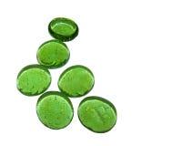 Zes Groene Kiezelstenen van het Glas Royalty-vrije Stock Foto