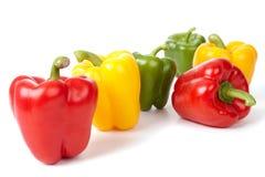 Zes Groene paprika's Stock Foto