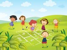 Zes het Jonge meisjes spelen royalty-vrije illustratie