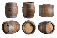 Zes hoek houten vaten royalty-vrije stock afbeeldingen