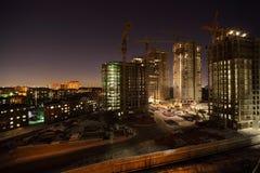 Zes hoge gebouwen in aanbouw Royalty-vrije Stock Afbeelding