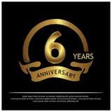 Zes jaar verjaardags gouden het ontwerp van het verjaardagsmalplaatje voor Web, spel, Creatieve affiche, boekje, pamflet, vlieger royalty-vrije illustratie