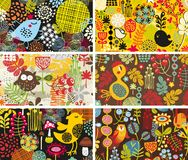 Zes kaarten met vogels en bloemen. stock illustratie