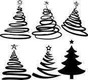 Zes Kerstmis-bomen. [Vector] Stock Afbeeldingen