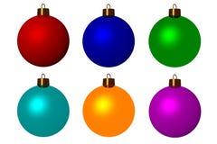 Zes Kerstmisballen Royalty-vrije Stock Afbeelding
