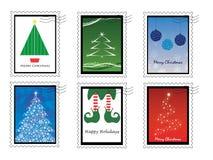Zes Kerstmiszegels stock afbeelding