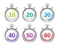 Zes Kleurrijke Chronometers met Variërende Tijden Stock Afbeeldingen