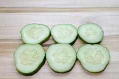 Zes Komkommerplakken Royalty-vrije Stock Foto