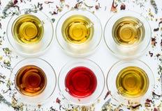 Zes koppen met verschillende types van thee Royalty-vrije Stock Afbeeldingen