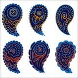 Zes koude het ornamentelementen van kleurenpaisley Stock Afbeelding