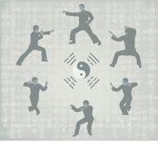 zes mensen belast met Kung Fu Stock Foto's