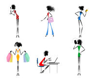 Zes moderne meisjes royalty-vrije illustratie