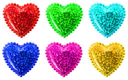 Zes multi-colored harten Royalty-vrije Stock Foto's