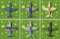 Zes ontwerpen van militair vliegtuig Royalty-vrije Stock Afbeelding