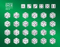 Zes opgeruimde Isometrisch dobbelt De vectorillustratie van witte kubussen met zwarte pitten in al mogelijk zet groene geruite ac Royalty-vrije Stock Fotografie