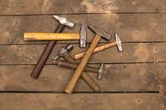 Zes oude hamers Royalty-vrije Stock Foto