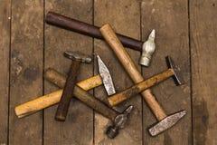 Zes oude hamers Stock Fotografie