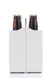 Zes Pak Bruine Flessen van het Bier royalty-vrije stock afbeeldingen