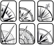 Zes Pictogrammen van het Kompas Stock Afbeeldingen