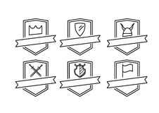 Zes pictogrammenemblemen stock illustratie