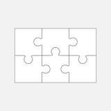 Zes puzzeldelen, lege 2x3 stukken stock illustratie