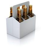 Zes rode flessen bier in witte karton verpakking Stock Foto