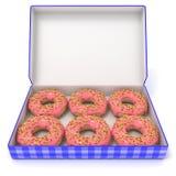 Zes roze donuts in blauwe doos Zachte nadruk 3d geef terug Royalty-vrije Stock Foto