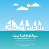 Zes sailbots op het vlakke de zomeroverzees, tekst stock illustratie