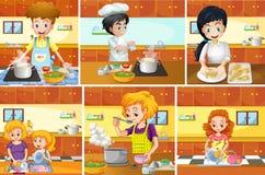 Zes scènes van mensen die in keuken koken Stock Foto's