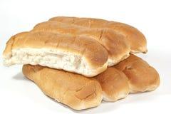 Zes Smakelijk Oven Baked White Bread Rolls Stock Foto