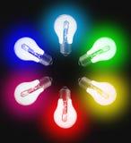 Zes standaard elektrische bollen, in de kleur van de regenboog royalty-vrije stock afbeeldingen