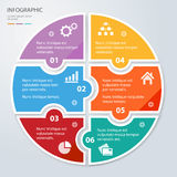 Zes stuk vlak raadsel om infographic presentatie Cirkel bedrijfsdiagram royalty-vrije stock foto