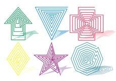 Zes symbolen Royalty-vrije Stock Afbeeldingen