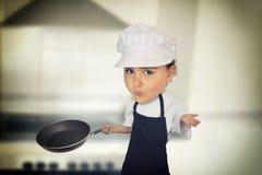 Zes van het chef-kokjaar meisje Royalty-vrije Stock Foto's