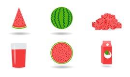 Zes vers watermeloenpictogram Stock Afbeelding