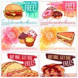 Zes verschillende kortingscoupons voor fast-food of dessert Royalty-vrije Illustratie