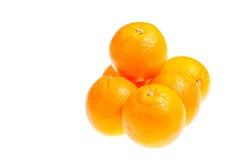 Zes verse sinaasappelen die op wit worden geïsoleerde Royalty-vrije Stock Foto