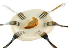 Zes vorken en een korst van een brood royalty-vrije stock afbeeldingen