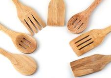 Zes vorken op een witte achtergrond Stock Afbeeldingen