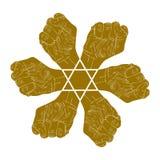 Zes vuisten vatten symbool met hexagonale ster, enige kleur vect samen Stock Fotografie