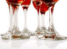 Zes wijnglazen Stock Afbeeldingen