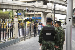Zesdaags na bomexplosie in Ratchaprasong-Kruising op Au Stock Afbeeldingen