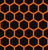 Zeshoeken van zwarte steen met hete stroken van energie Naadloze vectorachtergrond Het naadloze patroon van de technologie Stock Afbeeldingen