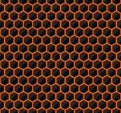 Zeshoeken van zwarte steen met hete stroken van energie Naadloze vectorspeltextuur Het naadloze patroon van de technologie Stock Foto