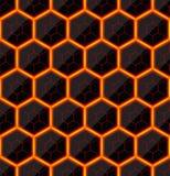 Zeshoeken van zwarte steen met hete stroken van energie Naadloze VectorTextuur Het naadloze patroon van de technologie Stock Afbeeldingen