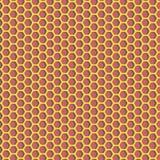 Zeshoekenpatroon - geel glanzend materiaal op rode achtergrond Stock Afbeelding