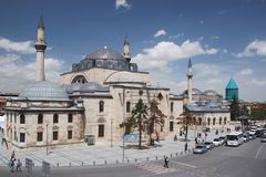 Zesi del ¼ di Mevlâna Mà e mausoleo - moschea di Selimiye - Konya - Immagini Stock Libere da Diritti